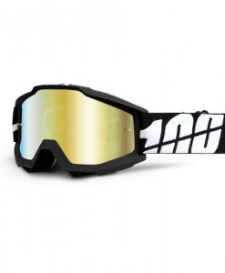 100% Accuri Motocross Goggles - Black Tornado - Gold Mirror Lens