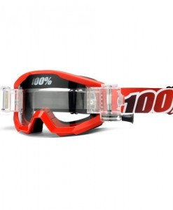 100% Strata SVS Motocross Goggles - Fire Red - Roll Off System