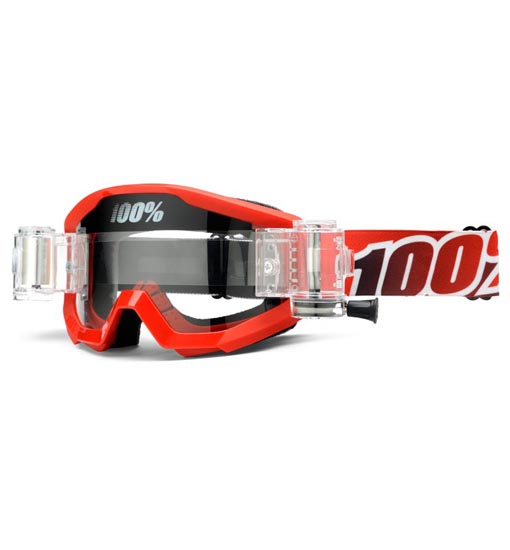 0851208ce73 100% Strata SVS Motocross Goggles - Fire Red - Roll Off System - GH  Motorcycles