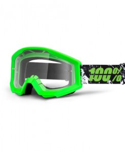 100% Strata Youth Motocross Goggles - Crafty Lime - Clear Lens